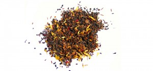 Aromatic black and flower tea leaves